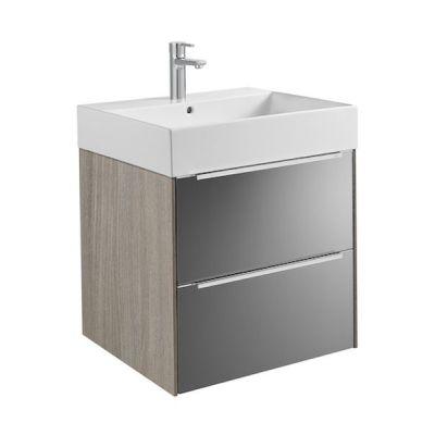 Zestaw łazienkowy Roca Inspira 60x67,4 cm Unik z 2 szufladami (szafka + umywalka), Dąb/Ciemne szkło A851075403