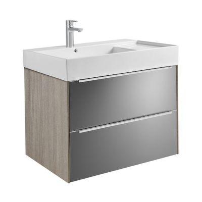 Zestaw łazienkowy Roca Inspira 80x67,4 cm Unik z 2 szufladami (szafka + umywalka), Dąb/Ciemne szkło A851076403