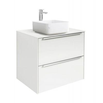 Szafka z blatem pod umywalkę, nablatowa Roca Inspira 60x55,4 cm z 2 szufladami (szafka + blat), Biały połysk A851079806