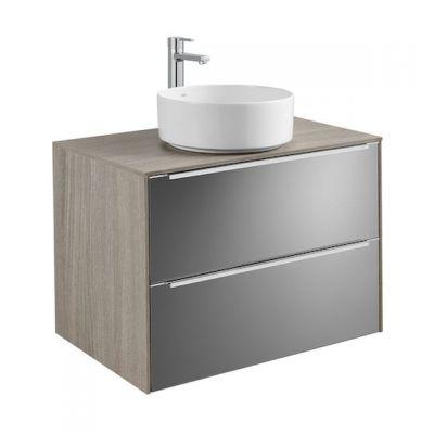 Szafka z blatem pod umywalkę, nablatowa Roca Inspira 80x55,4 cm z 2 szufladami (szafka + blat), Dąb / Ciemne szkło A851080403