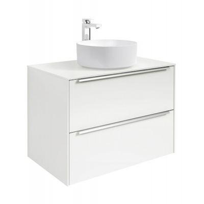 Szafka z blatem pod umywalkę, nablatowa Roca Inspira 80x55,4 cm z 2 szufladami (szafka + blat), Biały połysk A851080806