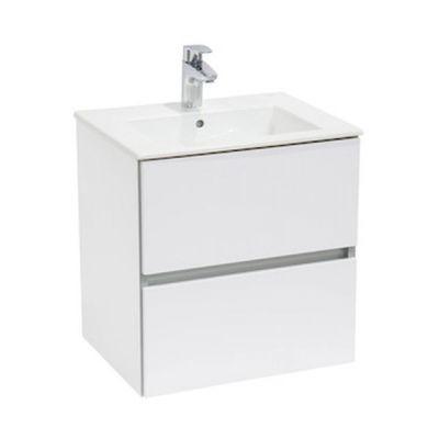 Zestaw łazienkowy Roca Cube 65x55 cm Unik z 2 szufladami (szafka+umywalka), Biały połysk A85119B806