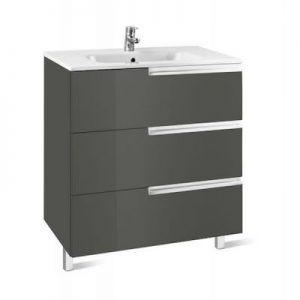 Zestaw łazienkowy Roca Victoria – N Family 60x74 cm Unik z 3 szufladami (szafka+umywalka) Szary antracyt A855839153