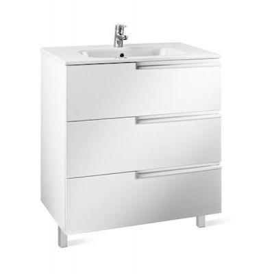Zestaw łazienkowy Roca Victoria – N Family 60x74 cm Unik z 3 szufladami (szafka+umywalka) Biały połysk A855839806
