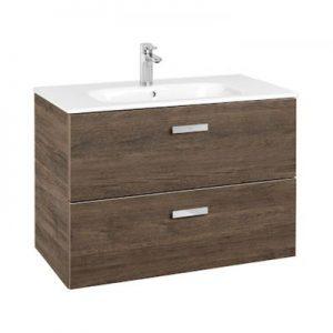 Zestaw łazienkowy Roca Victoria Basic 80x56,5 cm Unik z 2 szufladami (szafka+umywalka) Cedr A855852423