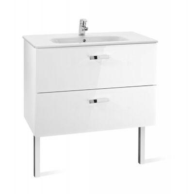 Zestaw łazienkowy Roca Victoria Basic 80x56,5 cm Unik z 2 szufladami (szafka+umywalka) Biały połysk A855852806