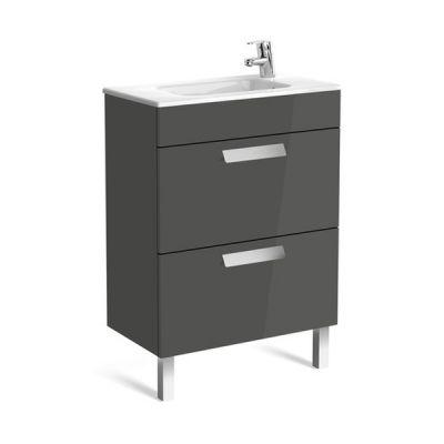 Zestaw łazienkowy Roca Debba 60x72 cm Unik Compacto z 2 szufladami (szafka+umywalka) Szary antracyt A855905153
