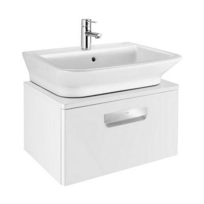 Szafka z drzwiami pod umywalkę z szufladą Roca Gap 60x32 cm, (bez umywalki), Biały połysk A856965806