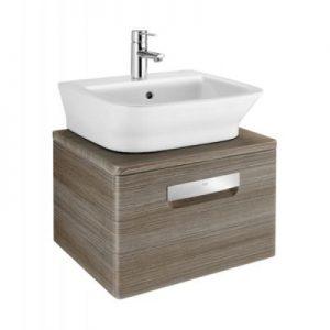 Szafka z drzwiami pod umywalkę z szufladą Roca Gap 50x32 cm, (bez umywalki), Teak A856967150