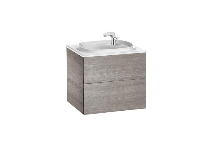 Zestaw łazienkowy Unik z 2 szufladami Roca Beyond  60x52,5 cm (szafka + umywalka), Dąb A851356402