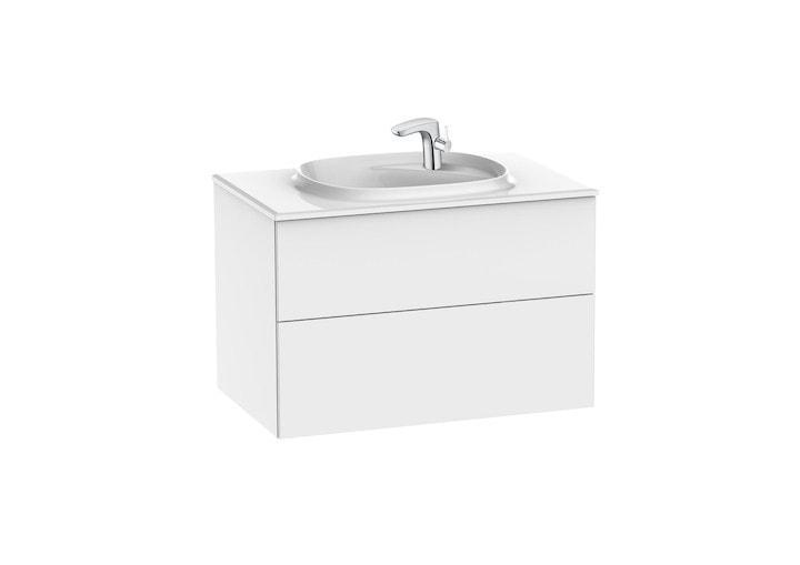 Zestaw łazienkowy Unik z 2 szufladami Roca Beyond  80x52,5 cm (szafka + umywalka), Biały połysk A851357806