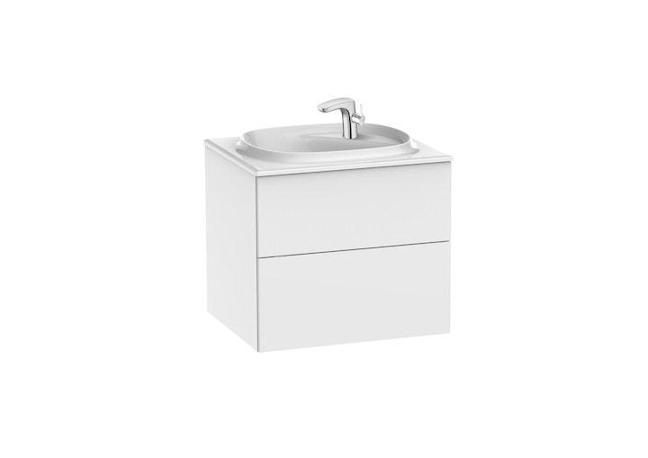 Zestaw łazienkowy Unik z 2 szufladami Roca Beyond  60x52,5 cm (szafka + umywalka), Biały połysk A851356806