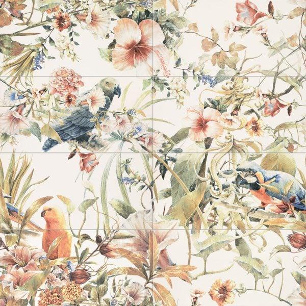Zdjęcie Obraz ścienny 8-elementowy Tubądzin Modern Pearl parrots 119,8×119,8 cm