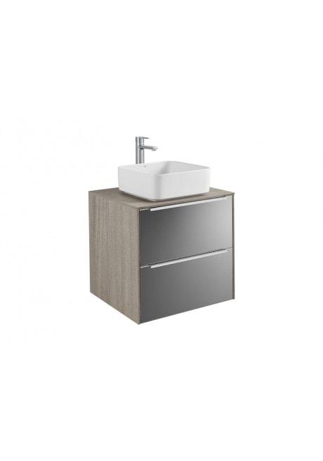 Szafka z blatem pod umywalkę, nablatowa Roca Inspira 60x55,4 cm z 2 szufladami (szafka + blat), Dąb / Ciemne szkło A851079403