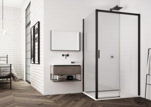 Drzwi rozsuwane dwuczęsciowe TLS2 120cm + ścianka boczna TOPF2 90 cm Black Line SanSwiss TLS2G1000607/TOPF21000607