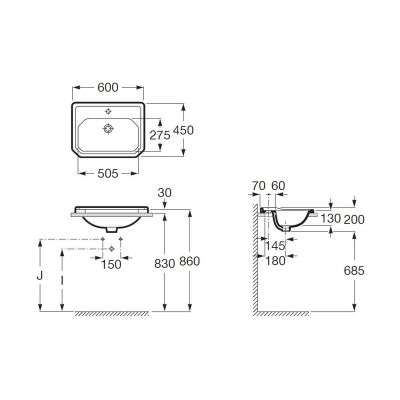 Zdjęcie Umywalka blatowa 1 otwór Maxi Clean Roca Carmen 60×45 cm, biała A3270A500M