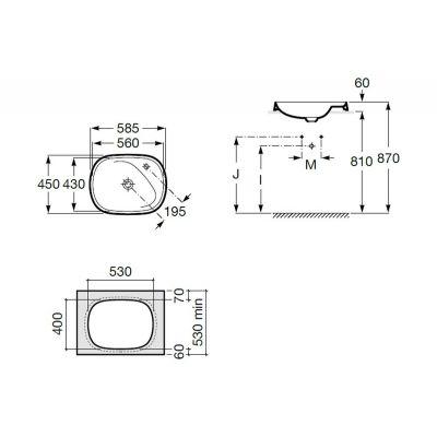 Zdjęcie Umywalka blatowa FINECERAMIC® Maxi Clean Roca Beyond 58,5×45 cm, biała A3270B600M