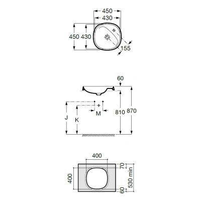 Zdjęcie Umywalka blatowa FINECERAMIC® Roca Beyond 45×45 cm, biała A3270B7000