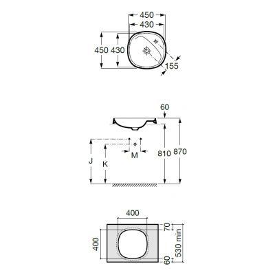 Zdjęcie Umywalka blatowa FINECERAMIC® Maxi Clean Roca Beyond 45×45 cm, biała A3270B700M
