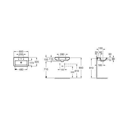 Zdjęcie Umywalka ścienna Compacto Roca Dama – N 60×32 cm, biała A327785000