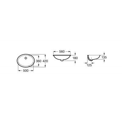 Zdjęcie Umywalka podblatowa z powłoką MaxiClean Roca Berna 56×42 cm biała A32787100M