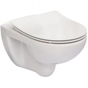 Miska WC podwieszana Rimless Roca Victoria 37x54 cm z deską SLIM duroplast wolnoopadającą (pack), biała A34H398000