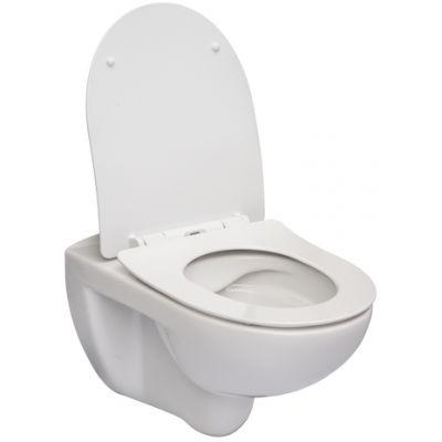 Zdjęcie Miska WC podwieszana Rimless Roca Victoria 37×54 cm z deską SLIM duroplast wolnoopadającą (pack), biała A34H398000