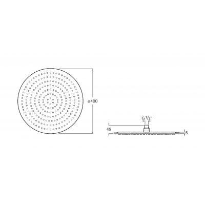 Zdjęcie Głowica prysznicowa okrągła, stal szlachetna Roca Raindream 40×40 cm A5B2650C00