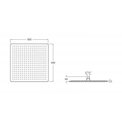 Zdjęcie Głowica prysznicowa kwadratowa, stal szlachetna Roca Raindream 40×40 cm A5B2850C00