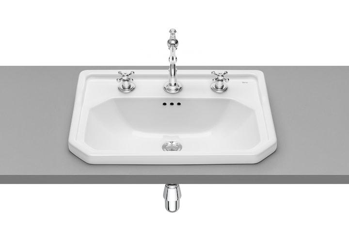 Umywalka ścienna 3 otwory Maxi Clean Roca Carmen 60x45 cm, biała A3270A5003