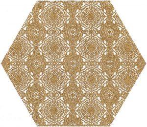Paradyż Shiny Lines Gold Heksagon Inserto E 19,8 x 17,1 cm