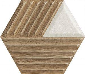 Paradyż Woodskin Mix Heksagon Struktura C Ściana  19,8 x 17,1 cm