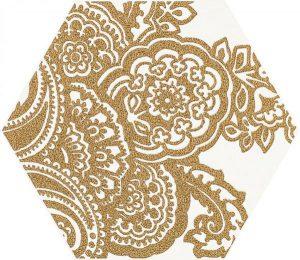 Paradyż Shiny Lines Gold Heksagon Inserto B 19,8 x 17,1 cm