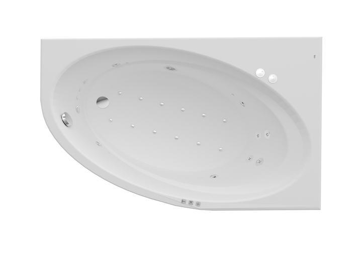 Asymetryczna narożna wanna akrylowa (Prawa) z hydromasażem Smart WaterAir Plus Roca Orbita 160x100 cm biały A24T229000