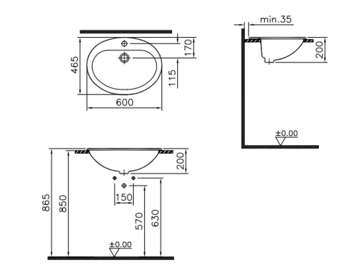 Zdjęcie Umywalka wpuszczana w blat Vitra Arkitekt 60×46,5 cm biały 6030B003-0001