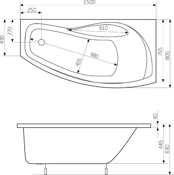 Zdjęcie Asymetryczna narożna wanna akrylowa (Prawa) z hydromasażem Smart WaterAir Plus Roca Nicole 150×80 cm biały A24T133000