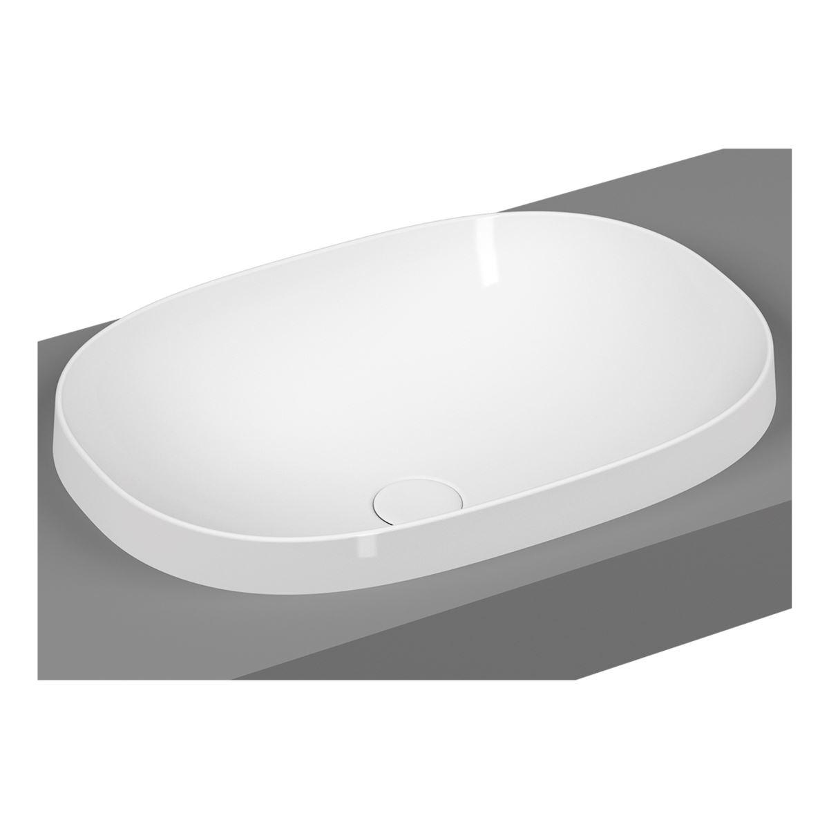 Umywalka wpuszczana w blat owalna Vitra Frame 56x39 cm biały połysk 5652B403-0016