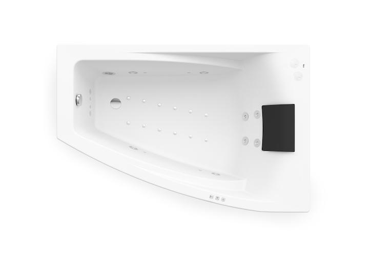 Asymetryczna narożna wanna akrylowa (Prawa) z hydromasażem Smart WaterAir Plus Roca Hall 150x100 cm biały A24T408000