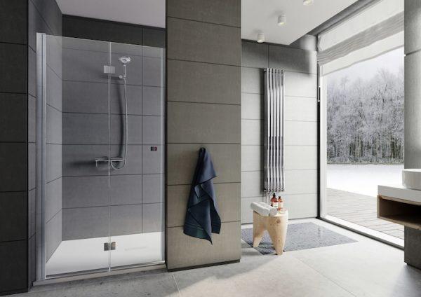 Zdjęcie Drzwi składane do wnęki prysznicowej MaxiClean, profile aluminiowe chromowane Roca Capital 195×90 cm AM4509012M