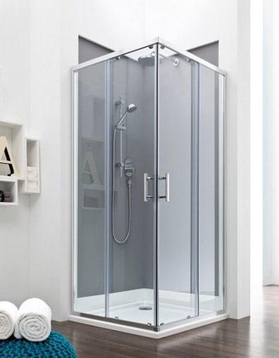 Zdjęcie Kabina prysznicowa Square z powłoką MaxiClean, profile aluminiowe chromowane Roca Town 195x90x90 cm AMP160901M