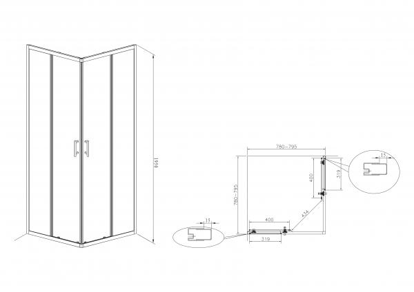 Zdjęcie Kabina prysznicowa Square z powłoką MaxiClean, profile aluminiowe chromowane Roca Town 195x80x80 cm AMP160801M