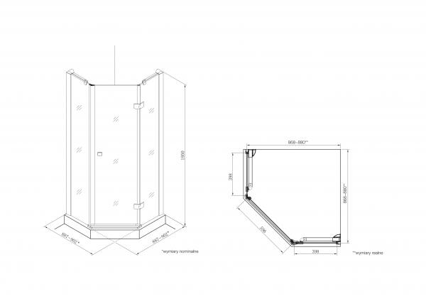 Zdjęcie Kabina prysznicowa Diamond z powłoką MaxiClean, profile aluminiowe chromowane Roca Metropolis 195×90 cm AMP3709012M