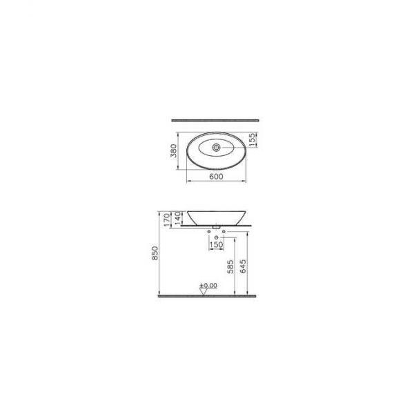 Zdjęcie Umywalka nablatowa Vitra Geo 60×38 cm mat 4423B001-0016