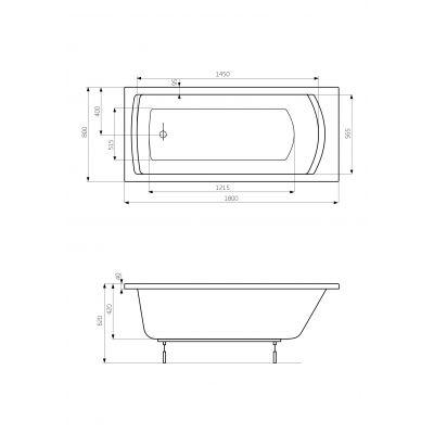 Zdjęcie Prostokątna wanna akrylowa z hydromasażem Smart WaterAir Plus Roca Linea 180×80 cm biały A24T062000