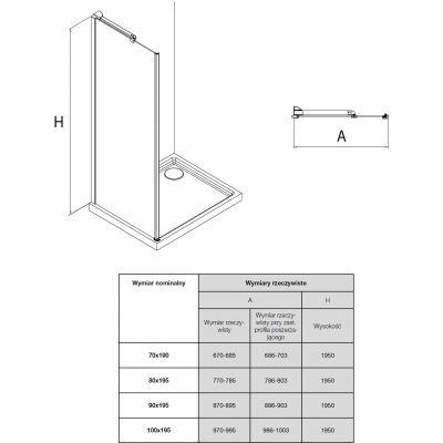 Zdjęcie Ścianka boczna z powłoką MaxiClean, profile aluminiowe chromowane Roca Metropolis 195×70 cm AMP3507012M
