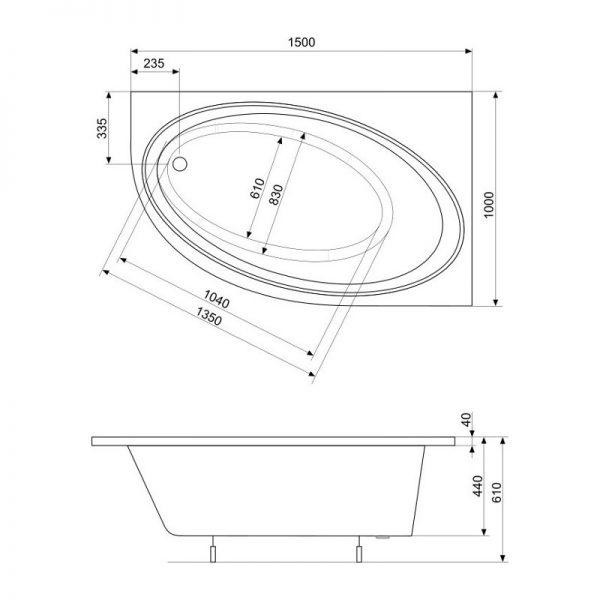 Zdjęcie Asymetryczna narożna wanna akrylowa (Prawa) 150×100 cm Roca Orbita biały A24T209000