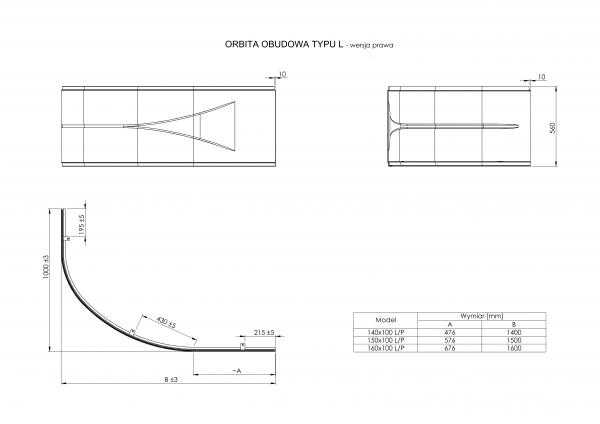 """Zdjęcie Obudowa typu """" L"""" prawa do wanny akrylowej Roca Orbita 150x100cm biały A25T070000"""
