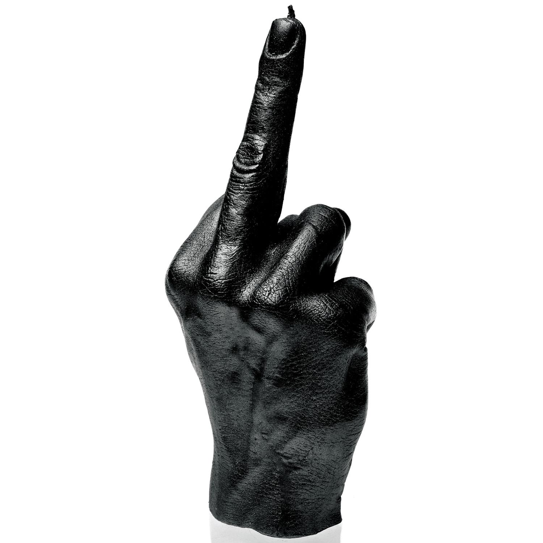 Świeca parafinowa Candellana Hand FCK Black Metallic 222x75x85 mm