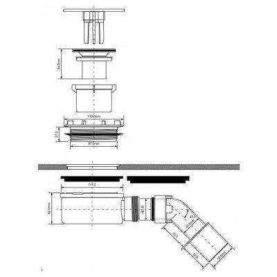 Zdjęcie Odpływ brodzikowy płaski 6,5 cm Roca Malaga A27L027000