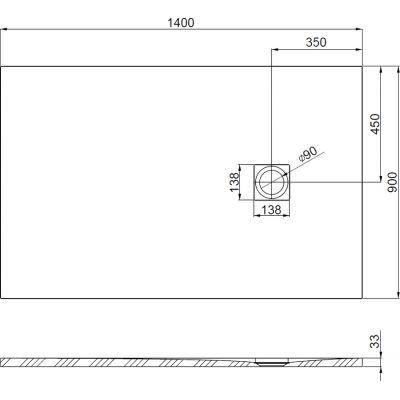 Zdjęcie Brodzik kompozytowy STONEX® Roca Ignis 140×90 cm Szary cement AP70157838401300